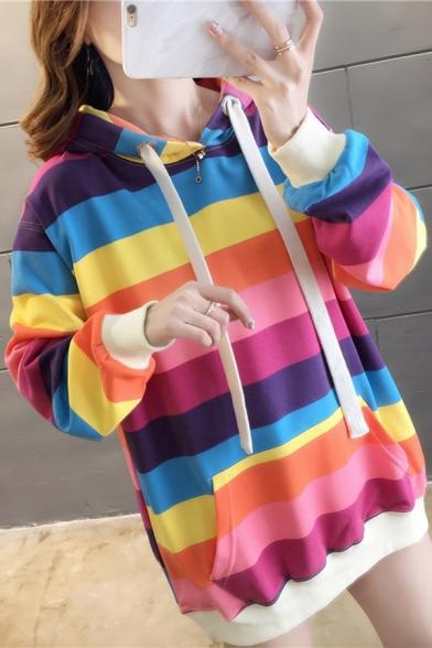 Korean Style Classic Rainbow Stripes Printed Long Sleeve Loose Tunic Drawstring Hoodie