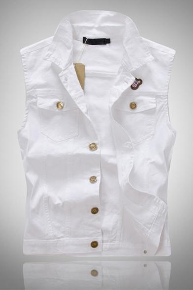 Mens Casual Plain Sleeveless Lapel Single Breasted Slim Fit White Denim Vest