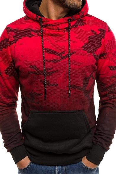 Mens Leisure Camouflage Pattern Color Gradient Long Sleeve Drawstring Hoodie