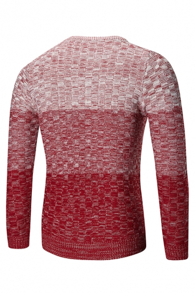Mens New Trendy Color Gradient Printed Long Sleeve Round Neck Knitted Warm Pullover Sweater