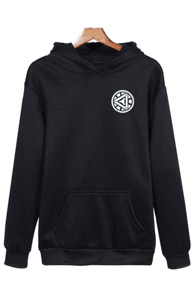 Mens Popular Geometric Pattern Long Sleeve Pouch Pocket Black Pullover Hoodie
