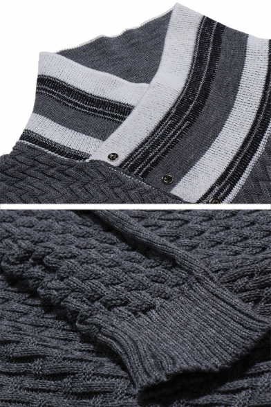 Mens Winter Popular Striped Shawl Collar Long Sleeve Slim Fit Casual Knitted Sweater