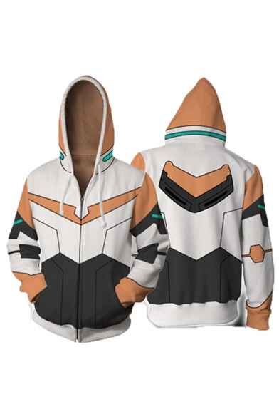Popular Anime Character Cosplay Costume Long Sleeve Zip Closure White Drawstring Hoodie