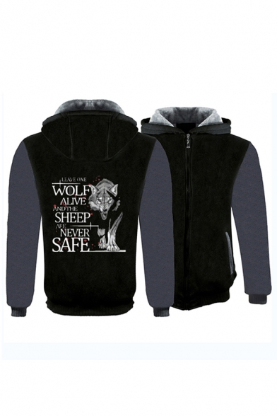 Simple LEAVE ONE WOLF ALIVE Print Colorblock Long Sleeve Zip Up Thick Graphic Hoodie