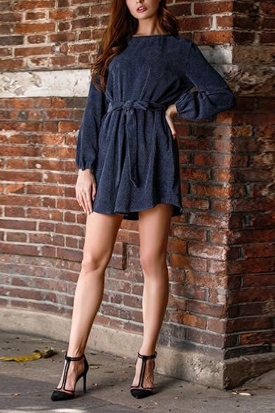 Simply Casual Blue Long Sleeve Crew Neck Zipper Back Bow-Tied Waist Velvet Knit Short Sheath Dress for Ladies