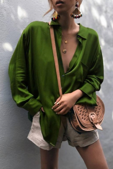 Womens Casual Plain Green Long Sleeve Single Breasted Loose Satin Shirt Blouse