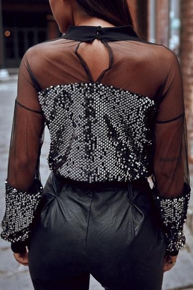 Womens Elegant Mock Neck Sheer Mesh Patchwork Long Sleeve Keyhole Back Sequined Shirt