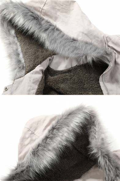 Womens Popular Fur Trimmed Hood Long Sleeve Split Back Drawstring Waist Parka Coat
