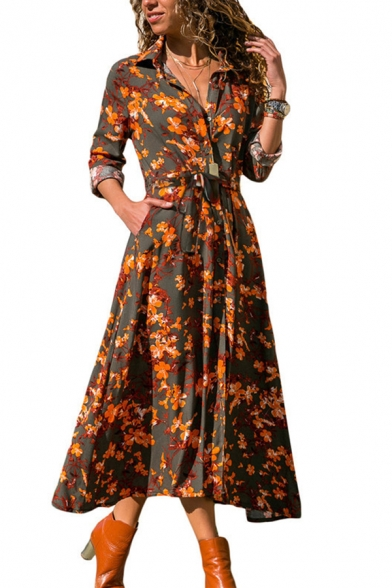 Casual Fancy Long Sleeve V-Neck Floral Patterned Button Down Split Side Bow-Tied Long A-Line Shirt Dress for Female