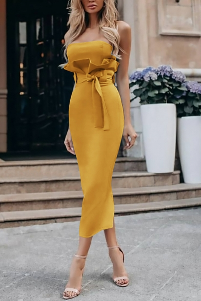 Chic Gorgeous Ladies' Sleeveless Strapless Ruffled Trim Bow Tie Waist Slit Back Plain Long Bodycon Tube Dress, Green;red;apricot;light blue;yellow, LM573959