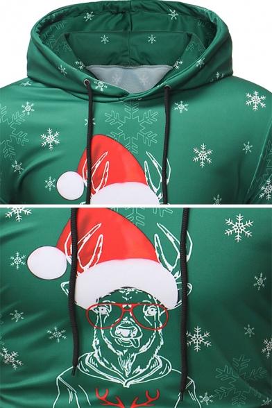Fancy Christmas Elk Letter HAPPY HOLIDAY Printed Long Sleeve Slim Fit Drawstring Hoodie