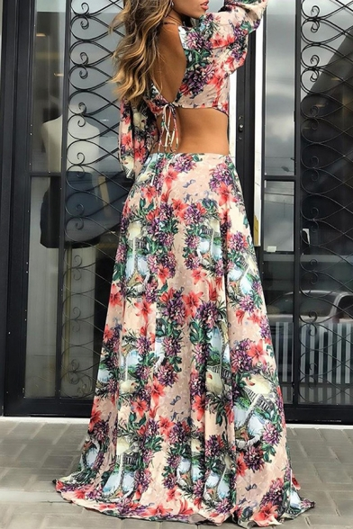 Gorgeous Beach Blouson Sleeve Deep V-Neck O-Ring Floral Print Hollow Out Bow Tie Back High Slit Side Maxi Flowy Dress in Apricot
