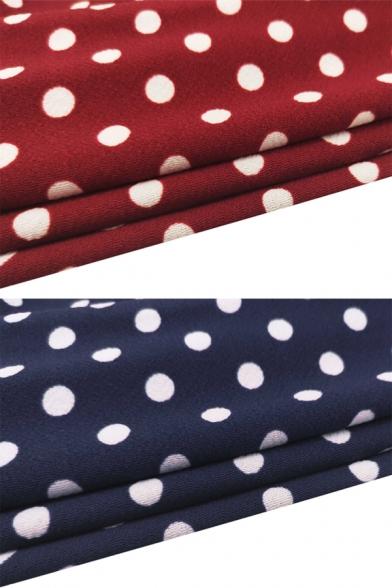 Ladies Vintage Classic Polka Dot Printed Off the Shoulder Bodycon Midi Bardot Dress