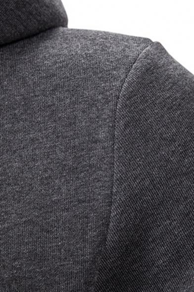Mens Designer Fake Two Pieces Long Sleeve Curved Hem Plain Longline Drawstring Hoodie