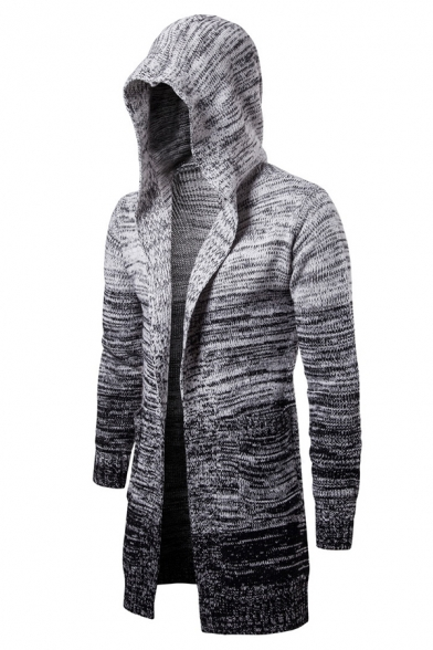 Mens New Stylish Color Ombre Long Sleeve Open Front Hooded Cardigan Knitwear Coat