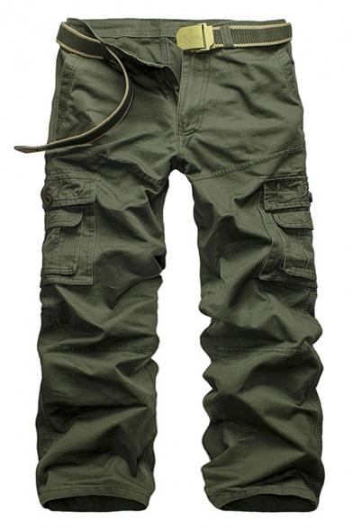 Mens Simple Plain Zip Placket Flap Pocket Straight Leg Pants Cotton Cargo Pants