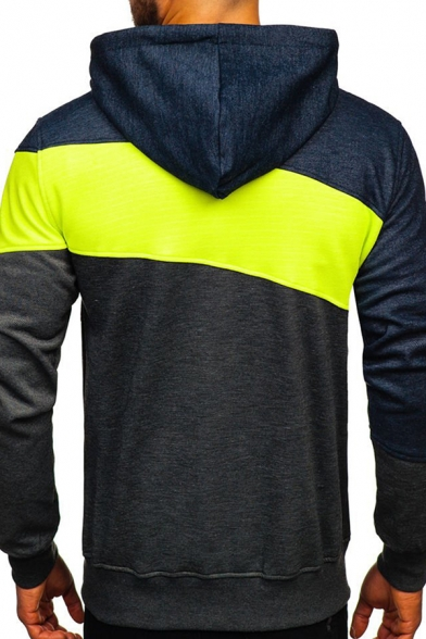 Mens Unique Colorblock Striped Letter Printed Long Sleeve Zip Up Leisure Hoodie