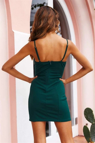 Party Girls' Sleeveless Slit Side Zipper Back Plain Mini Bodycon Cami Dress