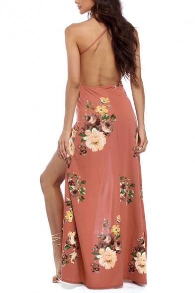 Pink Glamorous Women's Sleeveless Deep V-Neck Floral Print Open Back Split Side Maxi Beach Flowy Dress