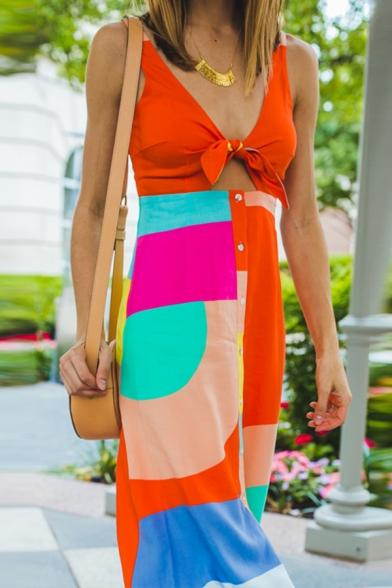 Pretty Girls' Sleeveless Deep V-Neck Bow Tie Contrasted Button Down Split Front Hollow Long Flowy Tank Dress in Orange