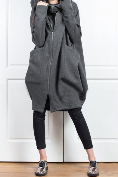 Womens Casual Plain Big Pocket Zip Up Fake Two Pieces Longline Cocoon Hoodie