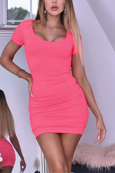 Womens Casual U-Shaped Neck Short Sleeve Hollow Out Back Ruched Solid Color Mini Sheath Dress