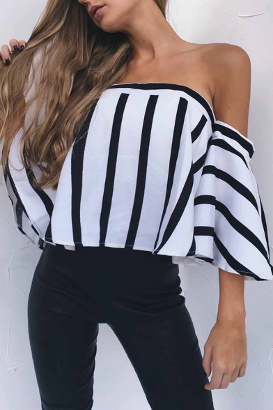 Womens Classic Black & White Striped Bell Sleeve Off Shoulder Loose Fit Sexy Blouse Top