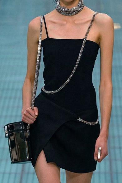 Womens Cool Chain Decoration Slit Detail Plain Black Mini Slip Dress for Party
