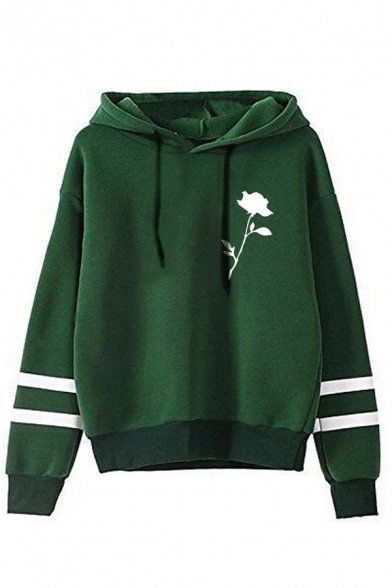 Womens Creative Rose Printed Double Stripes Long Sleeve Casual Drawstring Hoodie