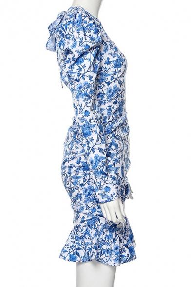 Womens Popular Floral Printed Puff Long Sleeve Backless Ruffle Hem Casual Blue Mini Holiday Dress