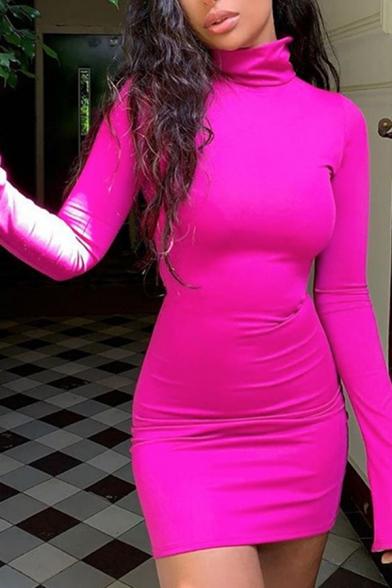 Womens Popular Whole Colored High Collar Long Sleeve Mini Bodycon Dress