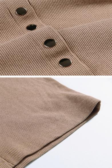 Womens Simple Mock Neck Cutout Glove Long Sleeve Single Breasted Khaki Mini Fitted Club Dress