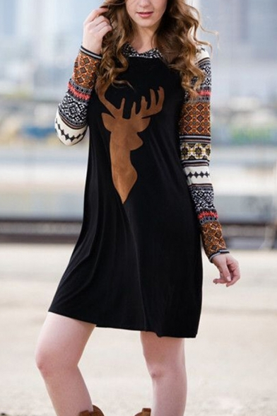 Casual Cute Girls' Long Sleeve Hooded Elk Floral Print Patched Black Short A-Line Sweatshirt Dress