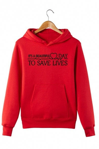 Chic Letter IT' A BEAUTIFUL DAY TO SAVE LIVES Long Sleeve Red Pull-Over Hoodie, LC576635