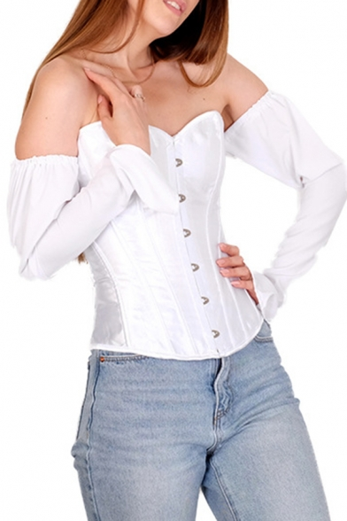 Edgy Girls' Puff Sleeve Off The Shoulder Button Down Lace Up Back Slim Fit Plain Corset for Party