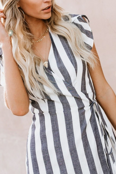 Elegant Ladies' Sleeveless Surplice Neck Ruffled Trim Striped Print Tied Fitted Wrap Long Flowy Dress in White