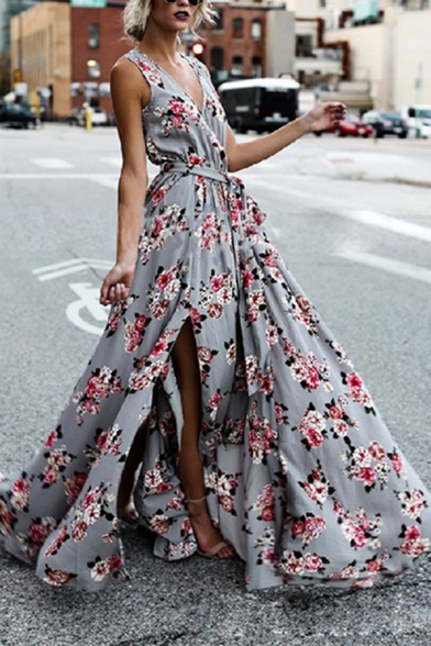 Esteemed Ladies' Sleeveless Surplice Neck Floral Print Bow Tie Waist High Slit Side Zip Back Pleated Maxi Flowy Dress in Grey