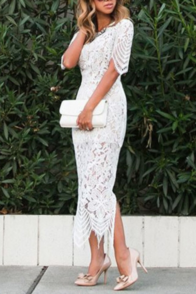 Fancy Ladies' Short Sleeve Crew Neck Floral Embroidered Lace Cut Out Back Slit Side Long Evening Bodycon Dress in White