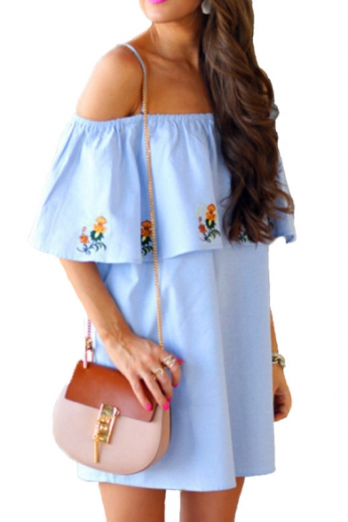 Girls' Cute Short Sleeve Off The Shoulder Floral Print Ruffled Trim Mini Swing Dress in Blue