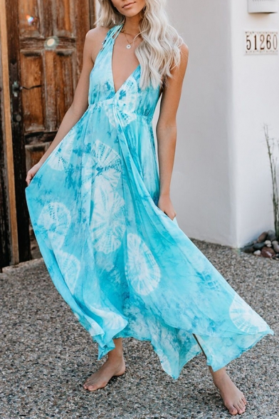 Gorgeous Girls' Sleeveless Deep V-Neck Halter Floral Patterned Pleated Maxi Flowy Cami Dress