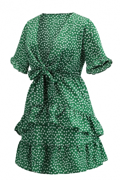 Green Fashion Ladies Short Sleeve Deep V-Neck Polka Dot Bow Tie Waist Ruffled Trim Tiered Short Pleated A-Line Dress