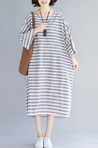 Holiday Trendy Striped Printed Oversized Maxi T-Shirt Dress for Women