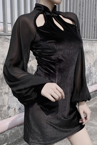 Ladies Vintage Frog Button Hollow Out Front Balloon Long Sleeve Black Mini Velvet Cheongsam Dress