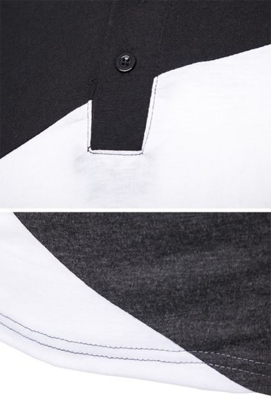 Mens Classic Colorblock Patchwork Short Sleeves Slim Fit Fashion Polo Shirt