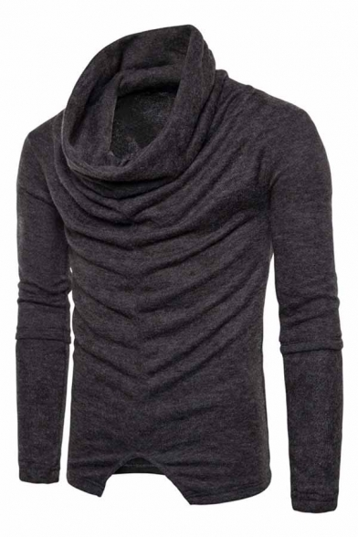 Mens Fashion Heap Collar Pleated Front Long Sleeve Slit Hem Solid Color Casual Sweater Top