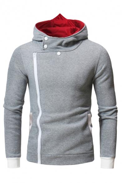 Mens Stylish Pattern Printed Long Sleeve Side Zip Up Slim Fit Casual Cosplay Assassin Hoodie
