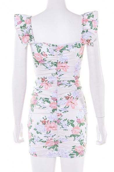 New Stylish Floral Printed Sweetheart Tied Front Ruffled Strap Casual Mini Bodycon Dress
