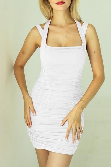 Summer New Trendy Plain Halter Strappy Mini Bandage Dress for Night Club