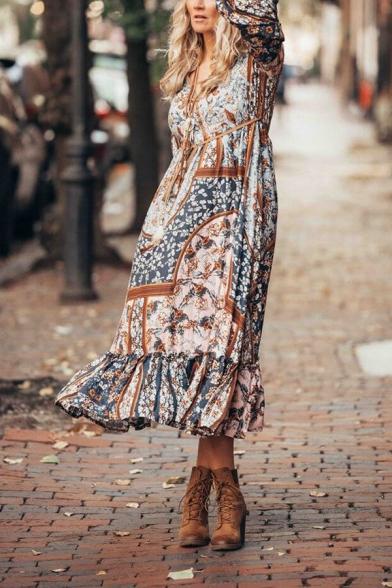 Women's Ethnic Blouson Sleeve V-Neck Bow Tie Waist Floral Print Ruffled Trim Long Boho Swing Dress in Coffee