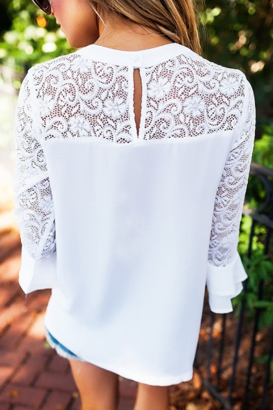 Womens Chic Lace Patched Long Sleeve Round Neck Oversized White Blouse